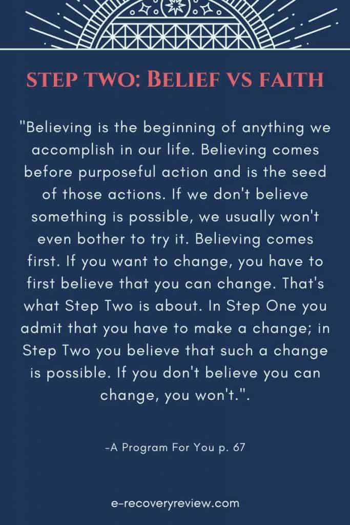 step two belief versus faith